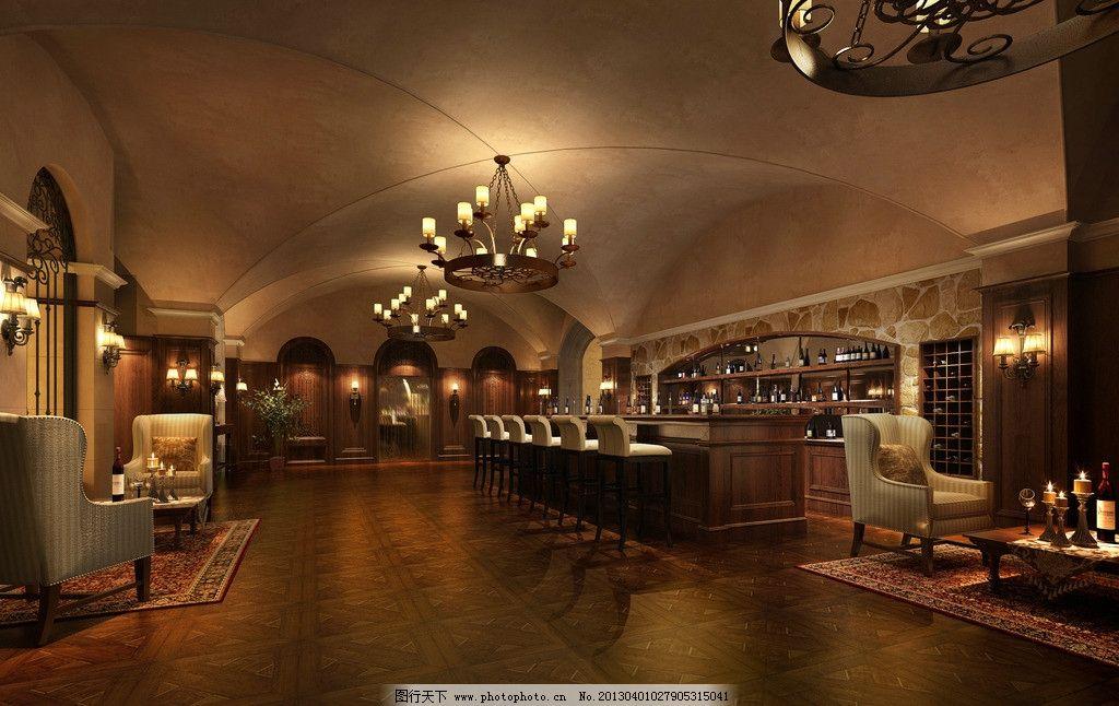 酒吧 室内设计 环境设计 空间设计 欧式酒吧 吊顶 地板 吧台
