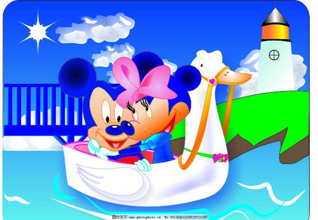 手绘 矢量 迪尼斯 米老鼠 卡通 幼儿园 背景