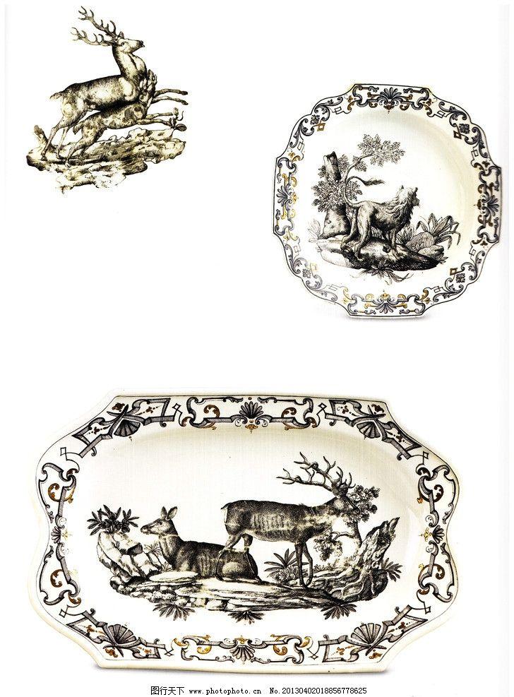 餐具图案 盘子 餐具花纹 欧式餐具 花纹设计 狩猎 狮子 驯鹿 鹿 动物
