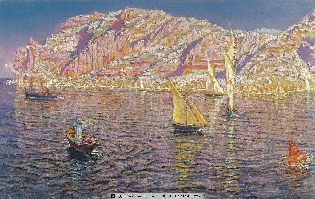 油画 绘画 美术 装饰画 配画 挂画 高清 手绘 风景 海 大海 船 帆船