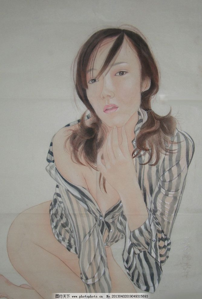 工笔人物画 工笔画 工笔重彩 美女 现代人物画 绘画书法 文化艺术