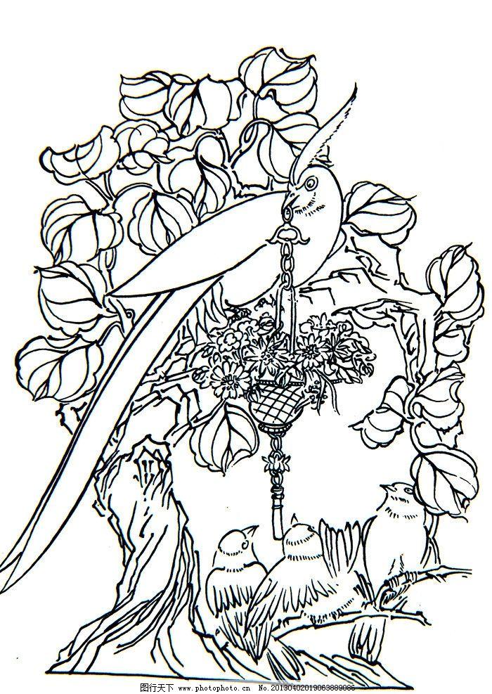 线描画 白描花鸟 白描素材 花 鸟 国画白描 工艺 手绘白描 传统图案