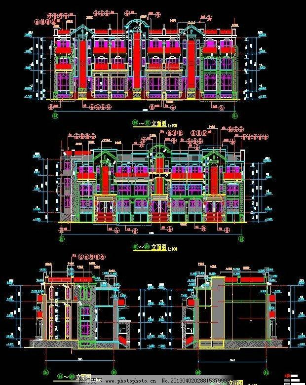 楼房平面图 懿 花园 a 2栋 立面图 施工图纸 cad设计图 源文件 dwg