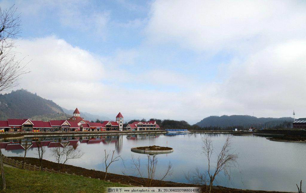 湖畔 旅游风景 人文建筑 湖边建筑 山岭风光 旅游文化 国内旅游