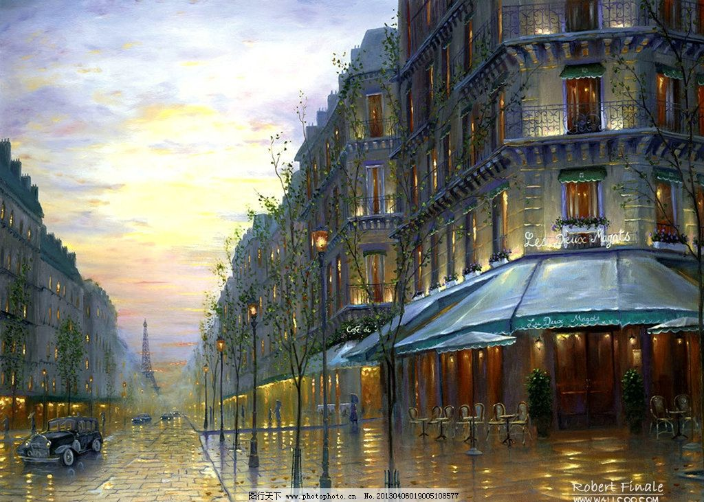 风景油画 手绘画 油画 彩绘 风景画 浪漫画 地中海 街道 灯光 绘画