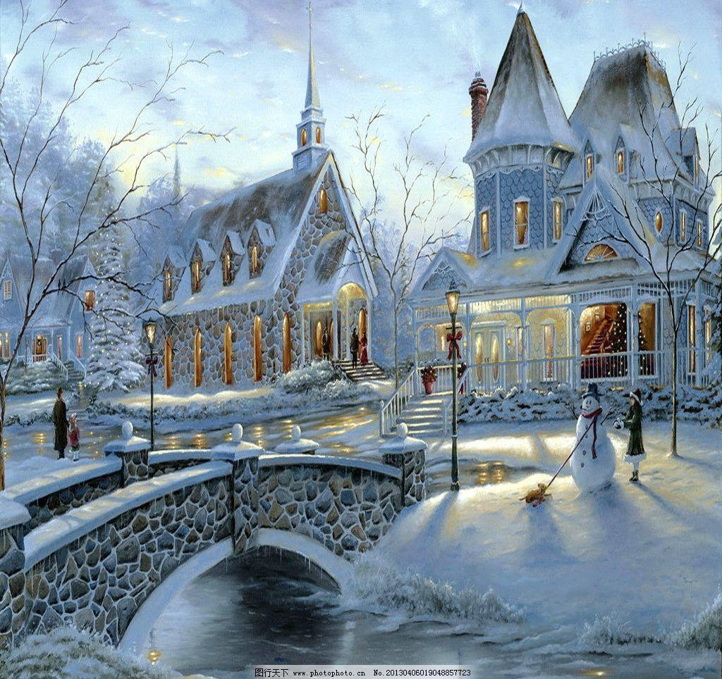 风景油画 手绘画 油画 彩绘 风景画 浪漫画 地中海 雪景 桥 河流 绘画