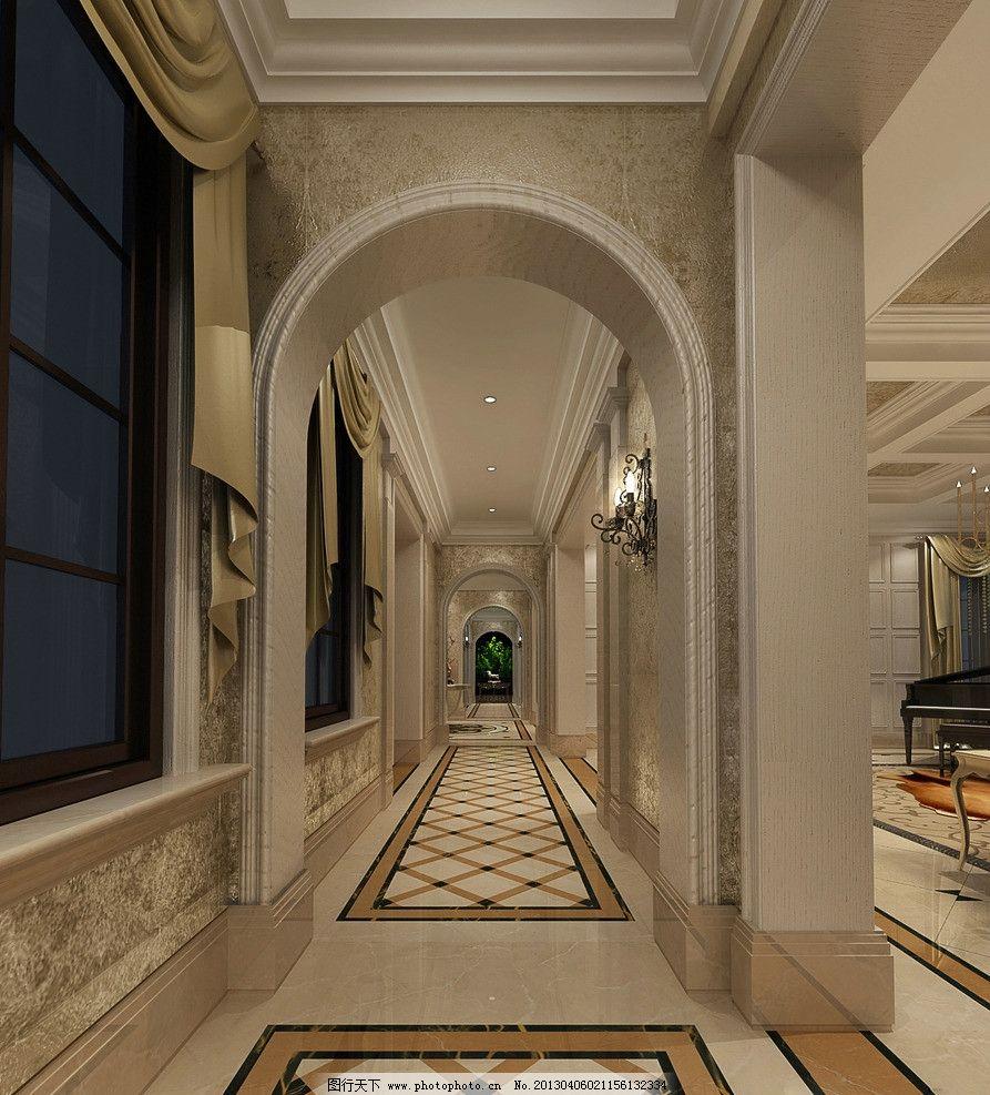 走廊 家装      欧式 别墅 3d作品 3d设计 设计 72dpi jpg