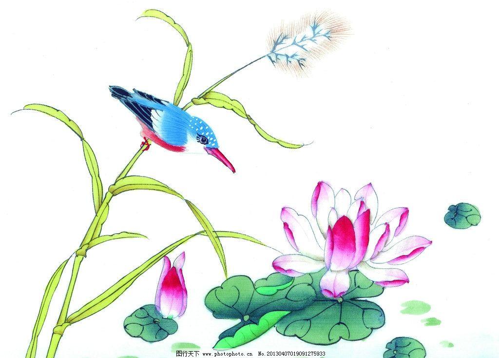 喜鹊 荷花 水芦苇 荷叶 工笔画 花鸟 绘画书法 文化艺术 设计 300dpi