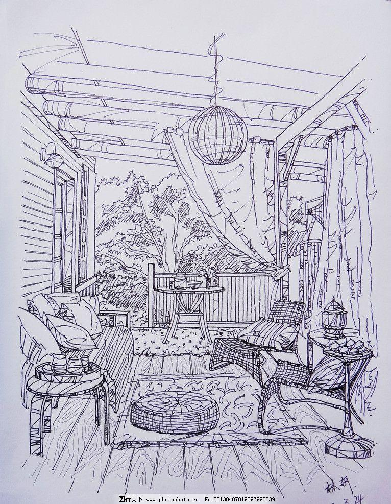 阳台写生 室内 阳台 线稿 手绘 林妍 绘画书法 文化艺术 设计 72dpi