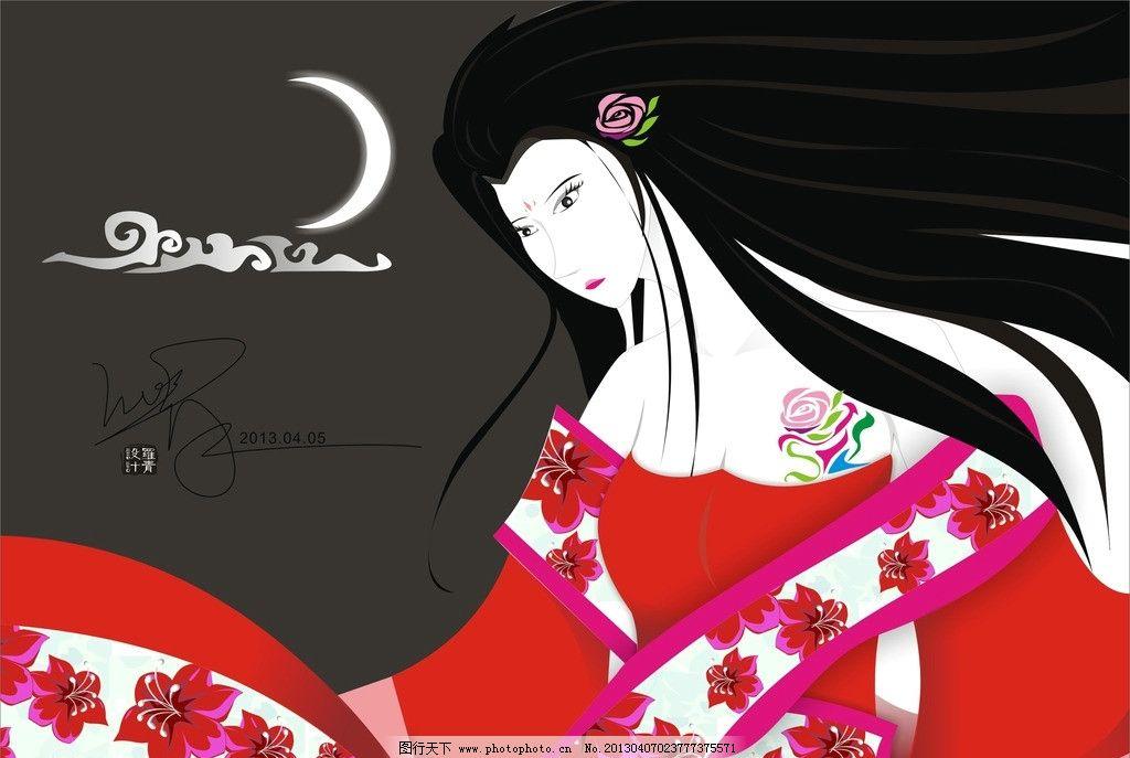 古代美女 手绘美人 古典风 和风 日本女子 漫画 手绘画 女人 手绘花朵