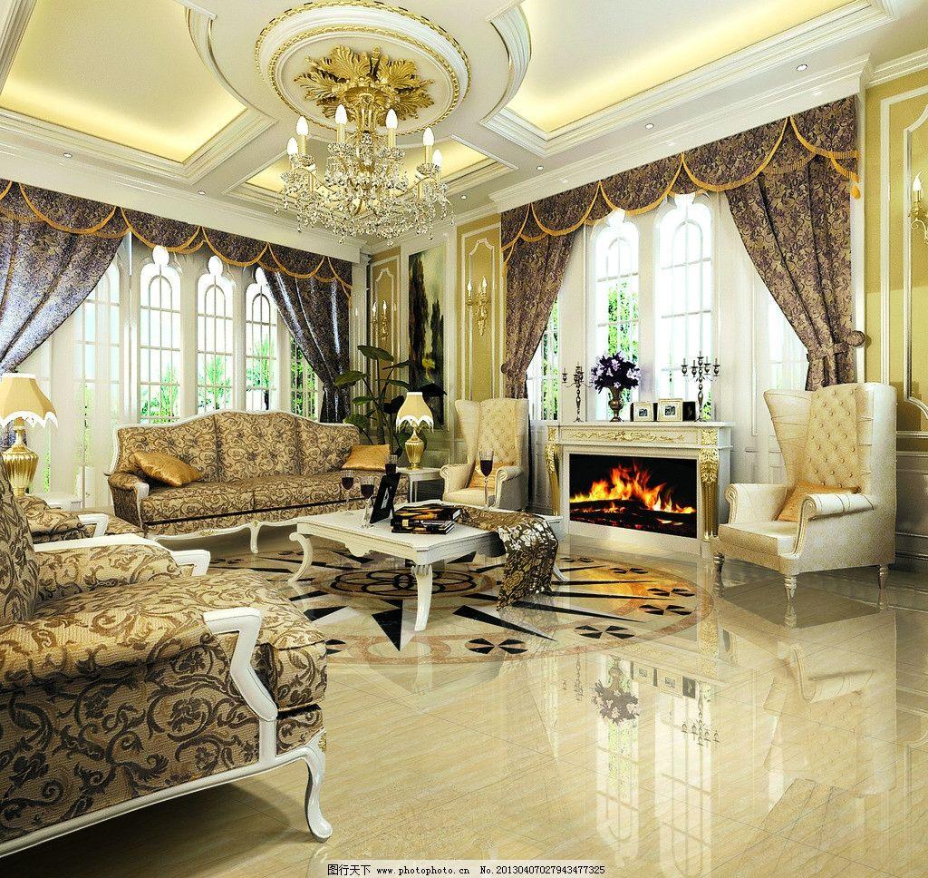瓷砖客厅 瓷砖 地砖 室内效果图