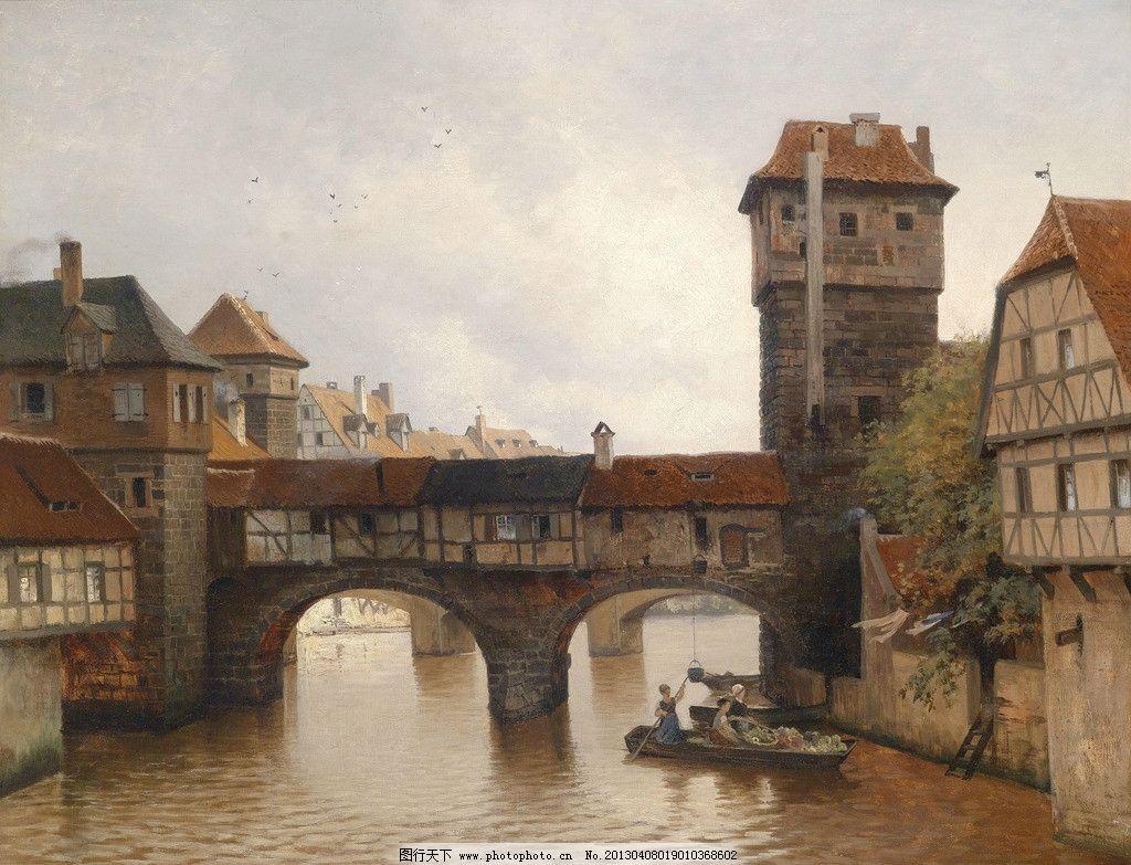 色彩 美术 外国 装饰画 配画 挂画 艺术 风景 欧式 河流 桥 小桥 拱桥