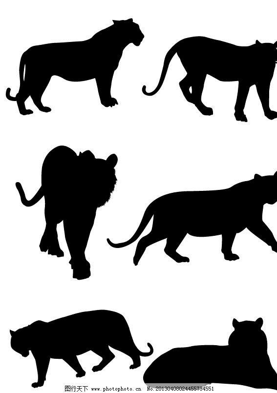 老虎下山 孟虎下山 凶猛 野生动物 黑白虎 黑白画 生物世界 矢量 eps