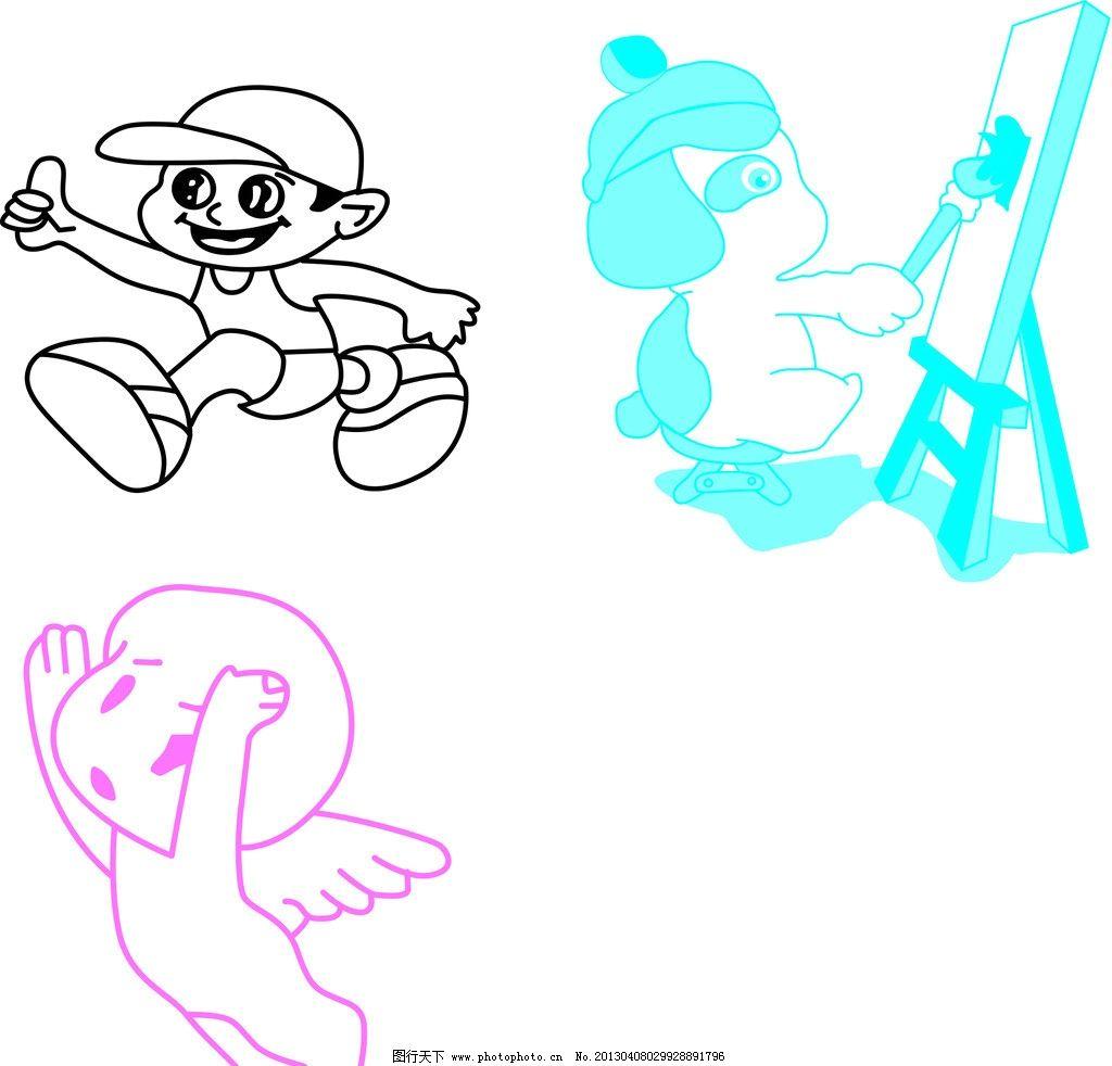 卡通人 天使 男孩 画画 线条 名片卡片 广告设计 矢量 ai