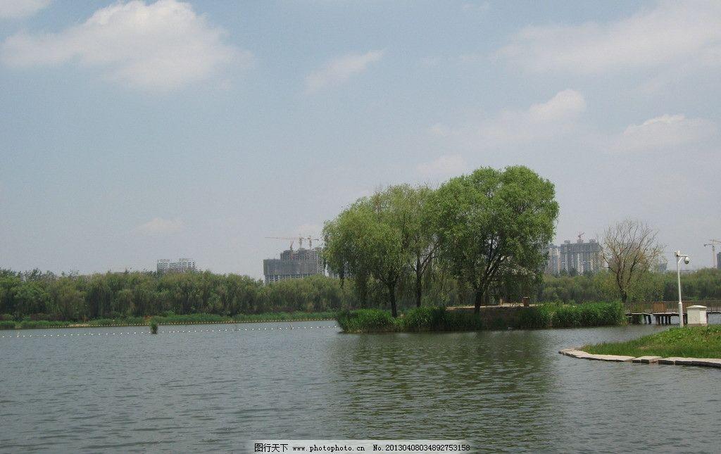 南湖公园 湖面 夏天 小岛 清新 天空 自然风景 自然景观 摄影 72dpi