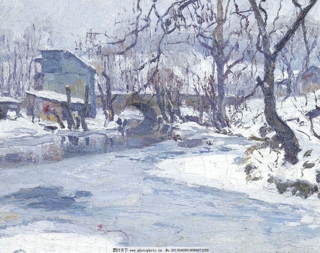 欧式冬天风景油画