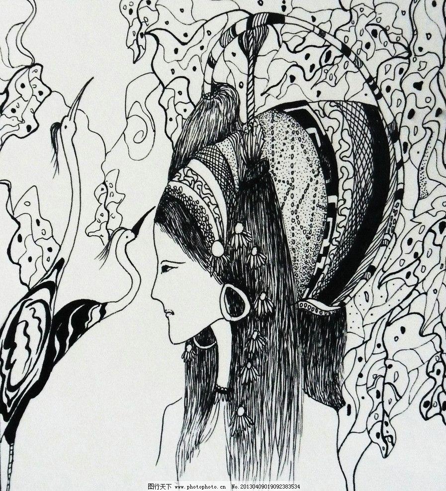 手绘线描 绘画 装饰画 美女 绘画书法 文化艺术