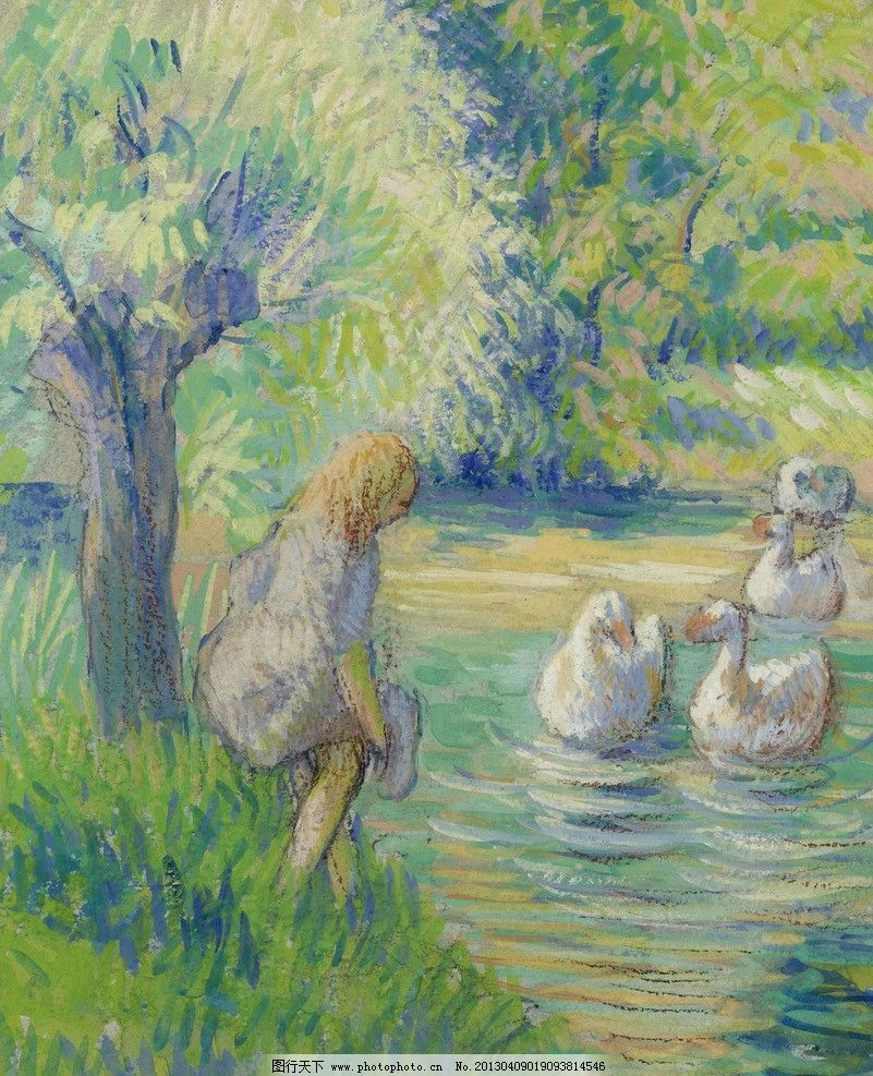池塘鸭子油画图片