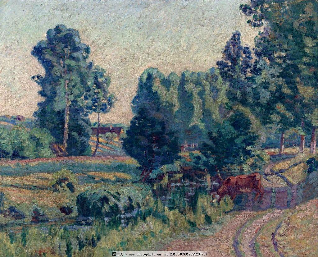 小路 道路 黄牛 自然 大树 树木 树林 森林 美景 风景 景色 景观 油画