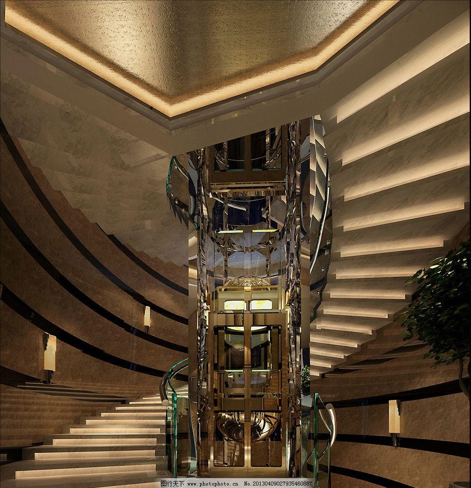 电梯间 家装 别墅 现代 楼梯 剖面 过道 室内设计 环境设计 设计 150