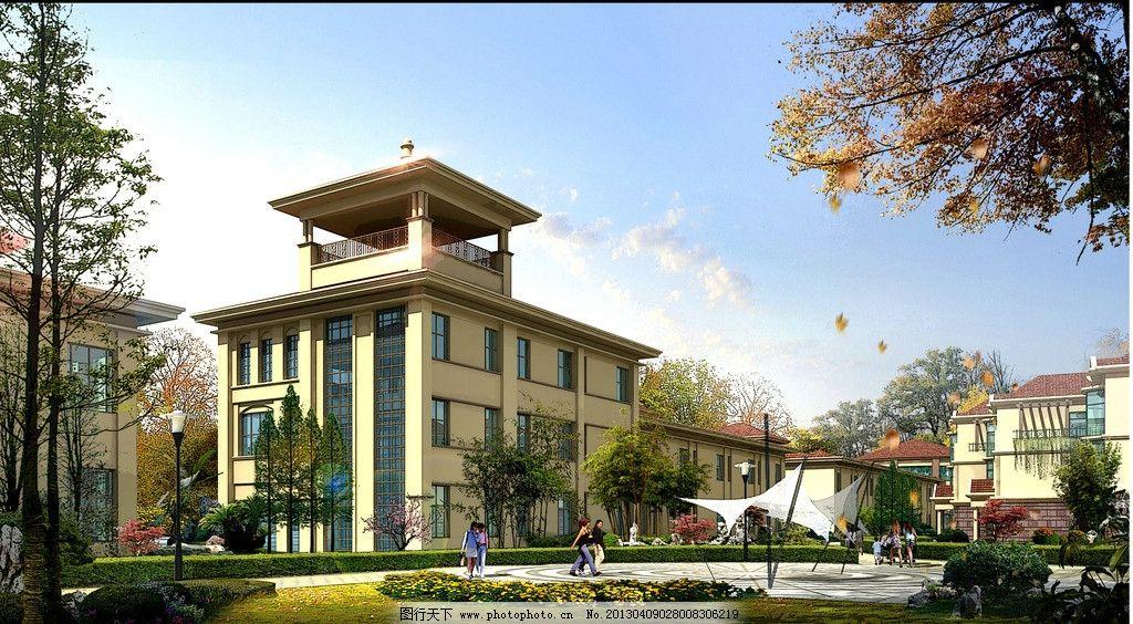房地产项目 建筑设计 景观设计 环艺设计 别墅设计3d效果图 景观规划