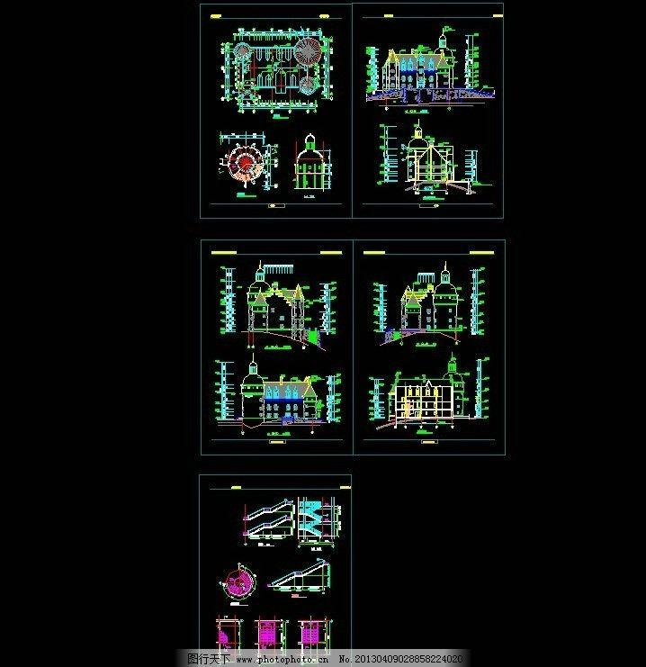 欧式 古堡 建筑 景观 楼梯 施工图 施工图纸 cad设计图 源文件 dwg
