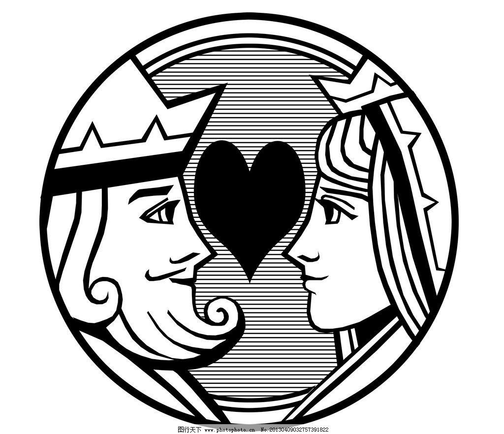 设计图库 psd分层 人物  扑克脸 情侣 扑克 poker k q king queen