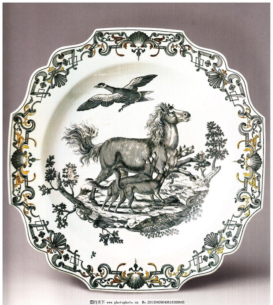 花纹设计 马 大雁 狼狗 野外风景 动物图案 图案设计 陶瓷盘子 瓷盘