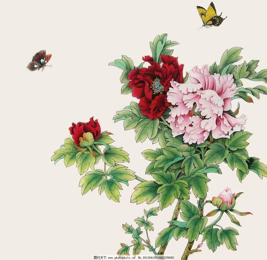 牡丹花 背景 喜庆 欢快 花 蝴蝶 传统文化 文化艺术 设计 72dpi jpg