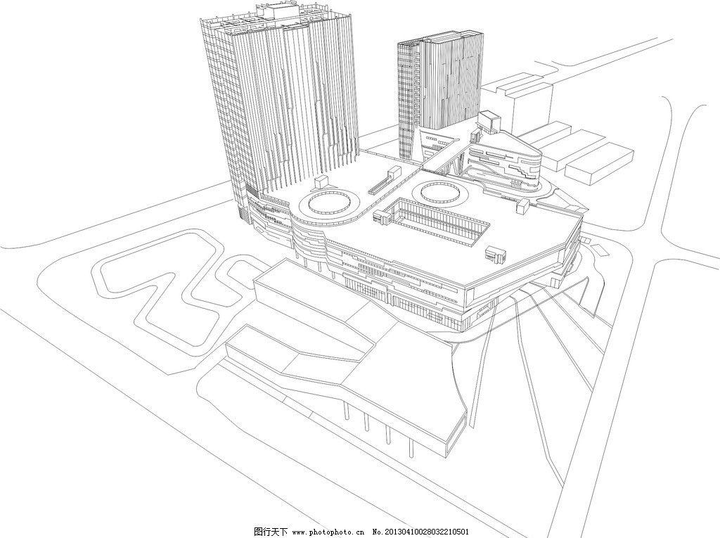 地产效果图 商业地产 立体效果 俯瞰 车城 车展 交通 公路 建筑 商场