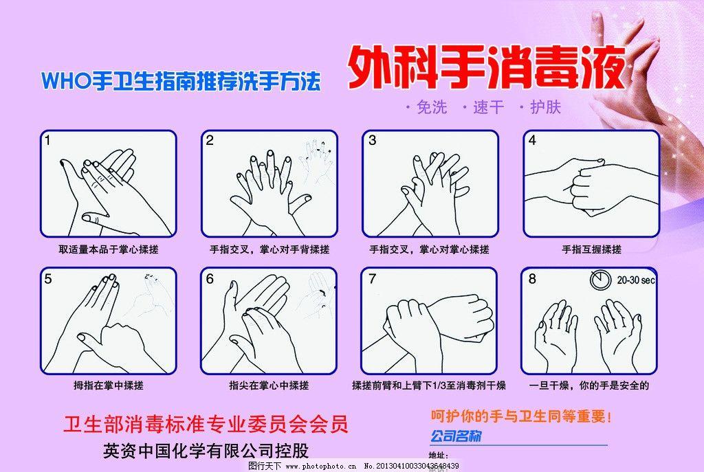 洗手步骤 洗手 外科消毒液 注重卫生 干净 洗手方法 psd分层素材 源