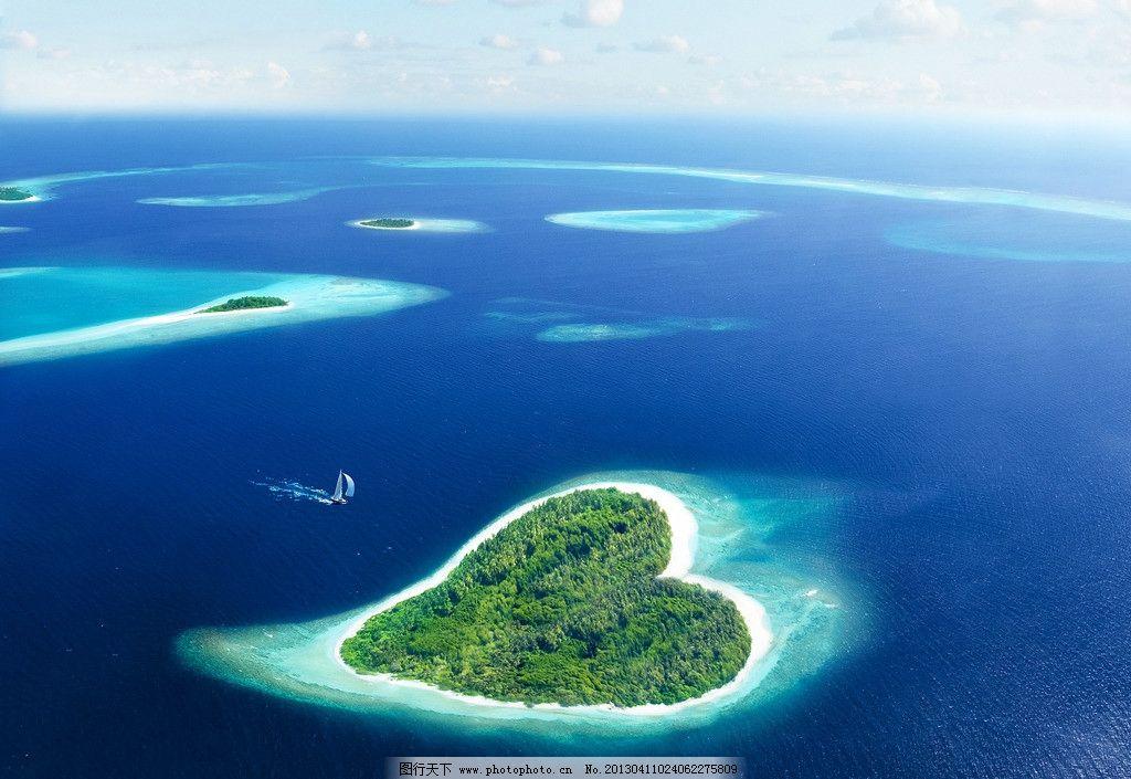 爱情岛 心形小岛 爱岛 蔚蓝 帆船 爱情 海岛 浪漫 爱意 蜜月 蜜月圣地