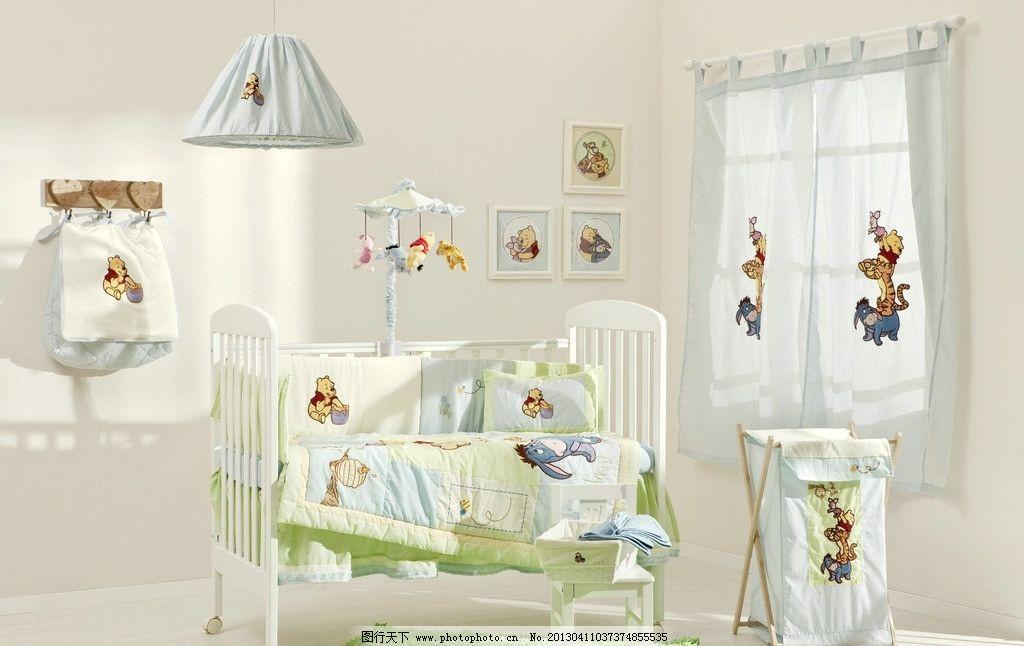 婴儿用品 婴儿床 被子 抱被 枕头 窗帘 可爱 地毯 玩具 玩偶 房间一角