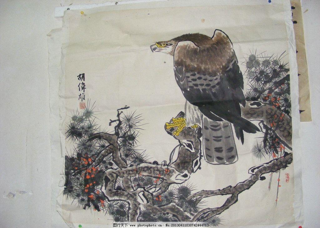 老鹰 国画 树木 动物 画画 动物画 美术绘画 文化艺术 摄影 72dpi jpg