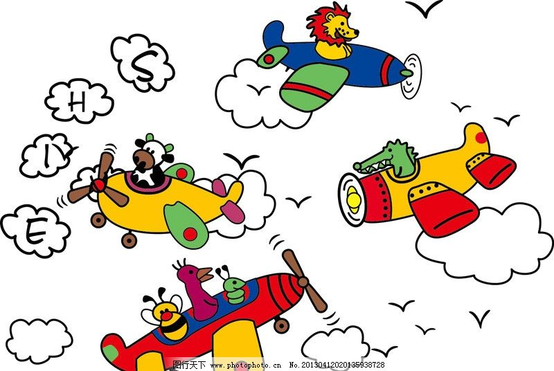 卡通图案 卡通飞机 卡通动物 字母印绣花 时尚图案 运动图案 另类图案