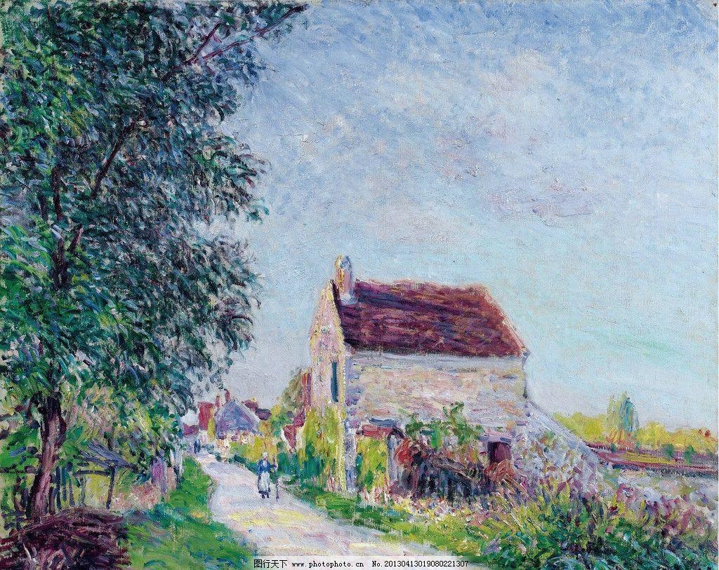 欧式风景房子油画