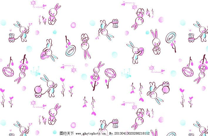 等爱兔 卡通 可爱 印花 兔兔 矢量 树 矢量图片 底纹背景 底纹边框 ai