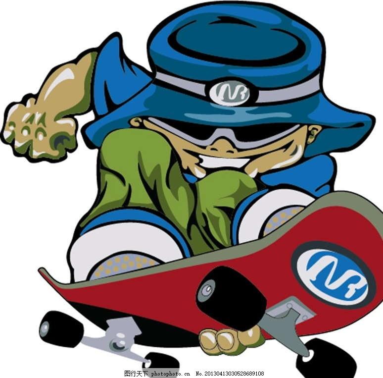 玩滑板 小孩 孩子 插画 背景画 动漫 卡通 时尚背景 背景元素 图画