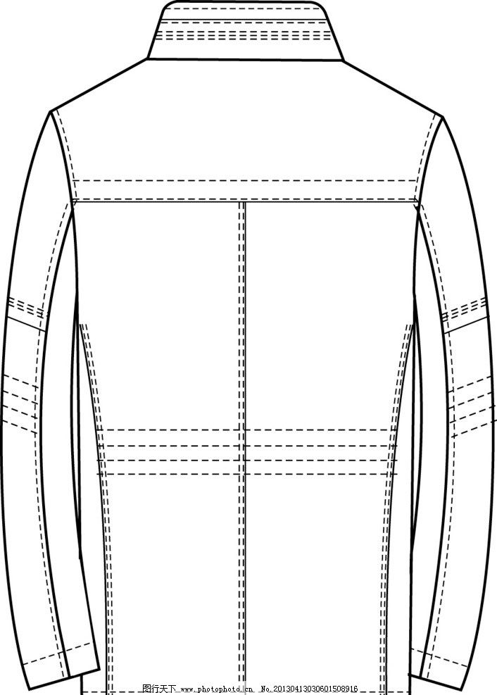 男士 外套 手绘 矢量 款式图 ai 长款 立领 背面 服装款式图 服装设计