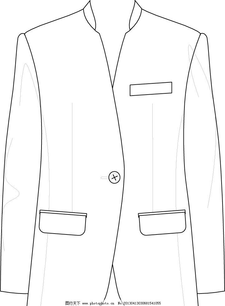 男士西服 手绘 矢量 款式图 服装款式图