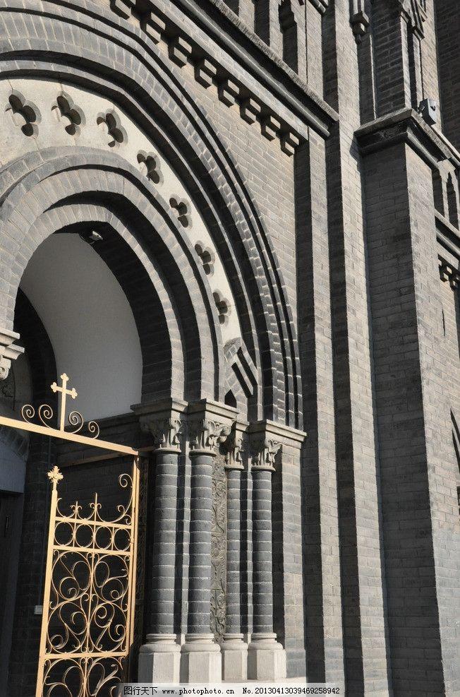 教堂 建筑 铁门 墙 灰色 结构 层次 建筑摄影 建筑园林 摄影 300dpi