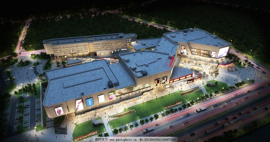 室外夜景鸟瞰 室外效果图 夜景 商业街 现代建筑 商铺 大鸟瞰 3d作品