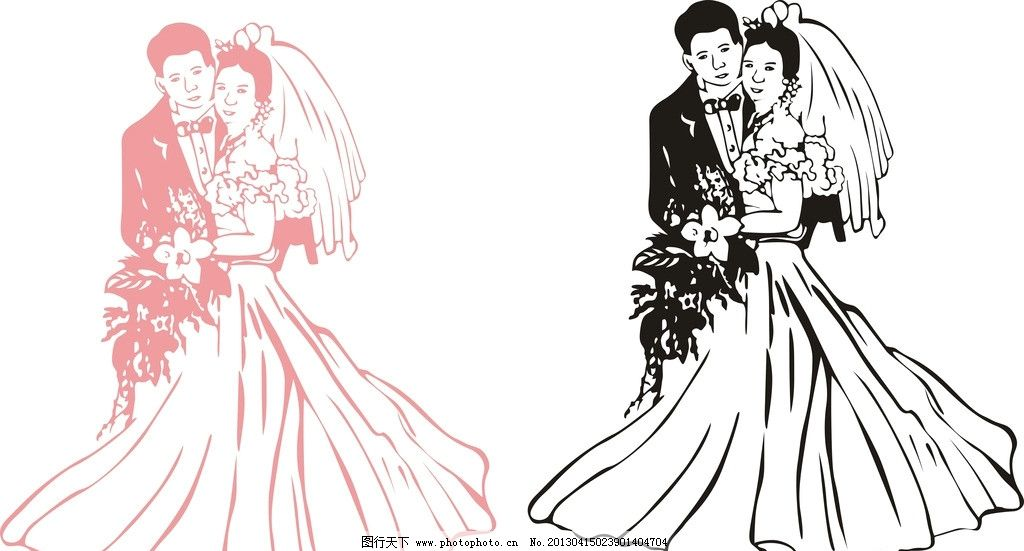 新郎新娘 婚纱 结婚照 幸福 美满 其他人物 矢量人物 矢量 cdr