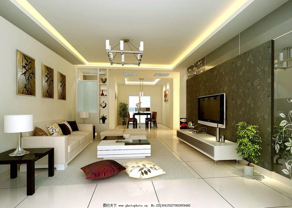 现代客厅效果图 客厅效果图 深色墙纸效果图 客厅餐厅效果图 客厅吊顶