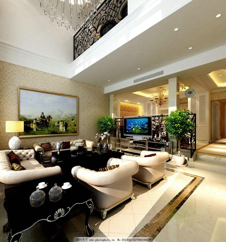 别墅客厅效果图 效果图 欧式 简欧 客厅 白色 吊顶 墙纸 铁艺栏杆 油画 吊灯 室内设计 环境设计 设计 300DPI JPG