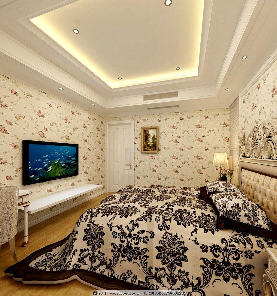 别墅卧室效果图        欧式 简欧      白色 吊顶 墙纸 床 吊灯 室内