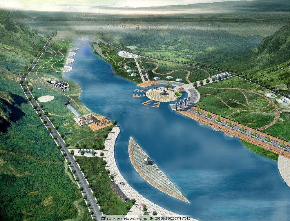 园林景观 景观效果图 园林设计 室外绿化 驳岸绿化 流水 驳岸设计