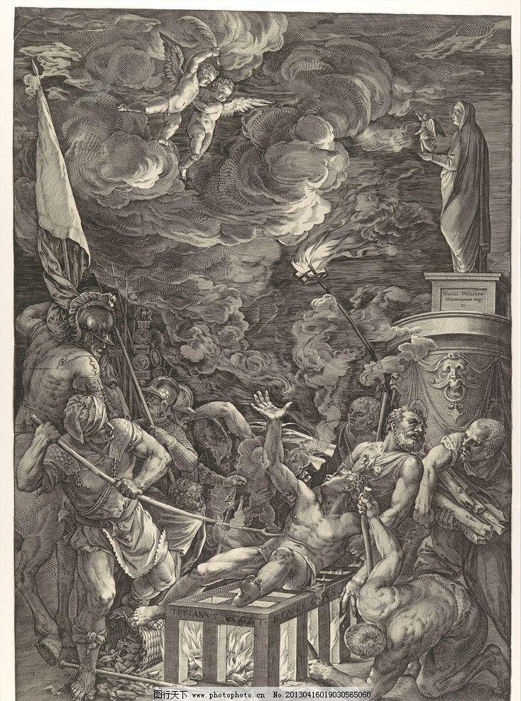 铜版画 版画 线条 线画 黑白 装饰画 配画 挂画 天使 宗教 美术馆藏品