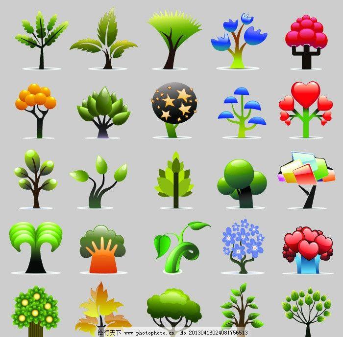 卡通小树 树林 树木 树苗