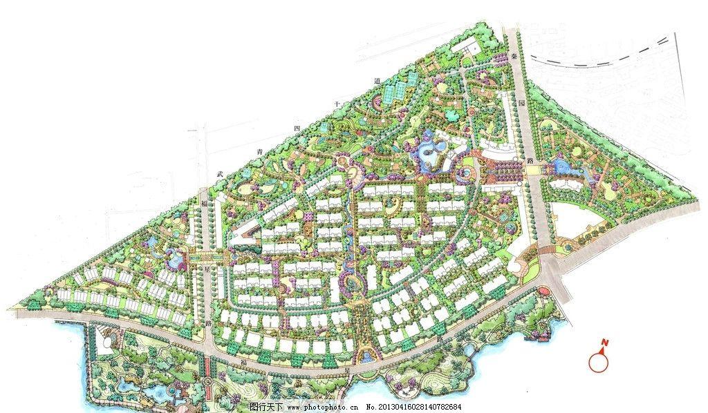 手绘居住区彩平图 手绘 居住区 彩平图 景观 节点 景观设计 环境设计